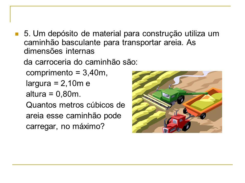 5. Um depósito de material para construção utiliza um caminhão basculante para transportar areia. As dimensões internas