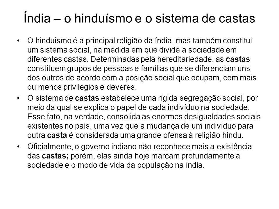 Índia – o hinduísmo e o sistema de castas