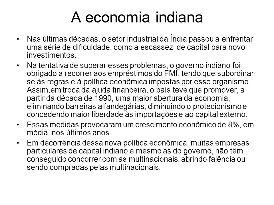 A economia indiana