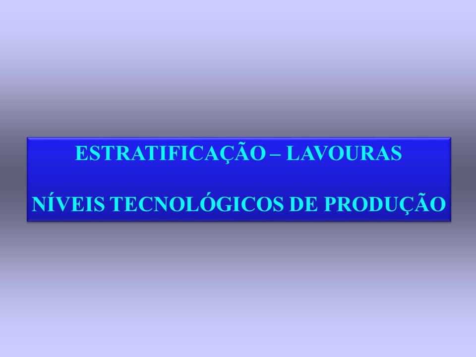 ESTRATIFICAÇÃO – LAVOURAS NÍVEIS TECNOLÓGICOS DE PRODUÇÃO