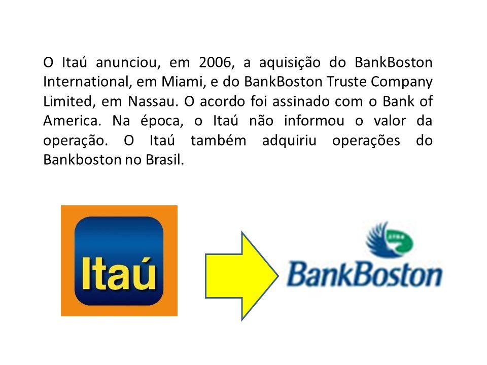 O Itaú anunciou, em 2006, a aquisição do BankBoston International, em Miami, e do BankBoston Truste Company Limited, em Nassau.