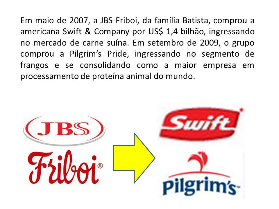 Em maio de 2007, a JBS-Friboi, da família Batista, comprou a americana Swift & Company por US$ 1,4 bilhão, ingressando no mercado de carne suína.