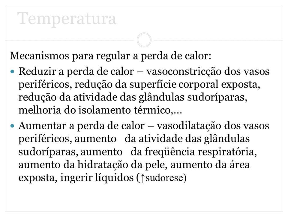 Temperatura Mecanismos para regular a perda de calor: