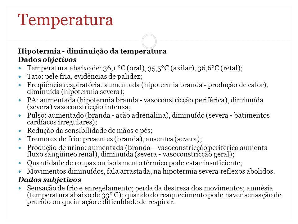 Temperatura Hipotermia - diminuição da temperatura Dados objetivos