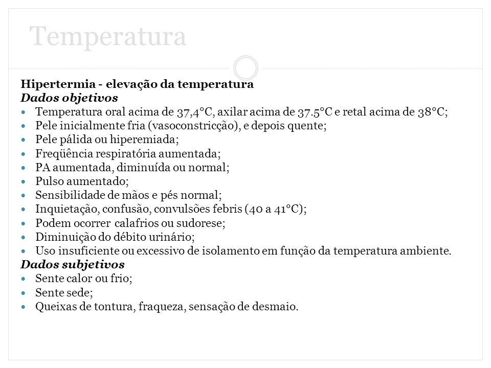 Temperatura Hipertermia - elevação da temperatura Dados objetivos