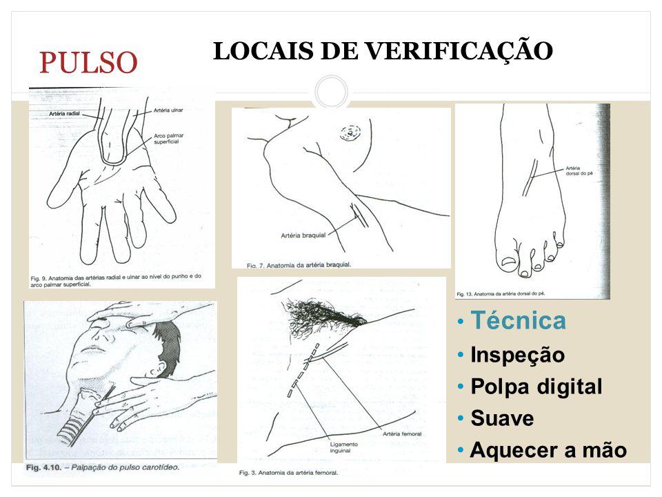 PULSO LOCAIS DE VERIFICAÇÃO Técnica Inspeção Polpa digital Suave