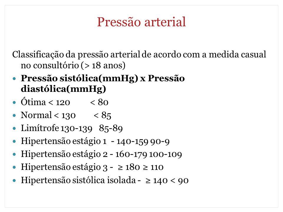 Pressão arterial Classificação da pressão arterial de acordo com a medida casual no consultório (> 18 anos)