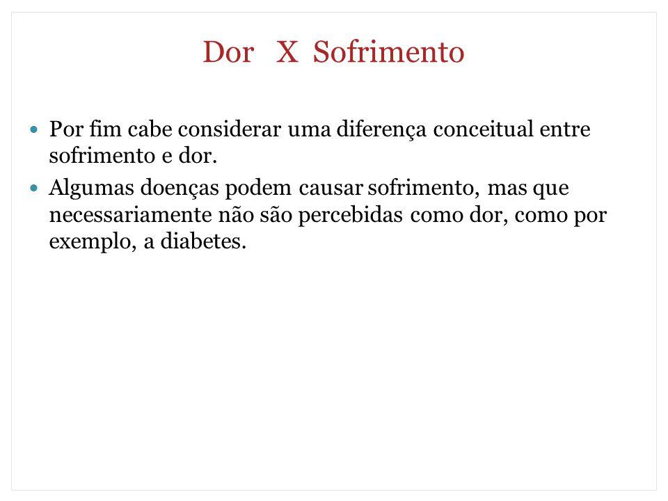 Dor X Sofrimento Por fim cabe considerar uma diferença conceitual entre sofrimento e dor.