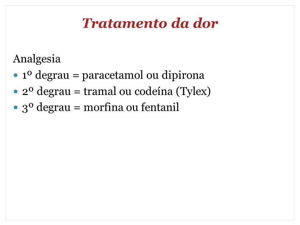Tratamento da dor Analgesia 1º degrau = paracetamol ou dipirona