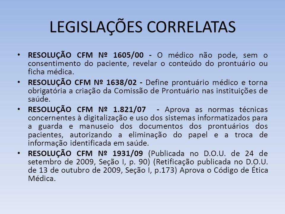 LEGISLAÇÕES CORRELATAS