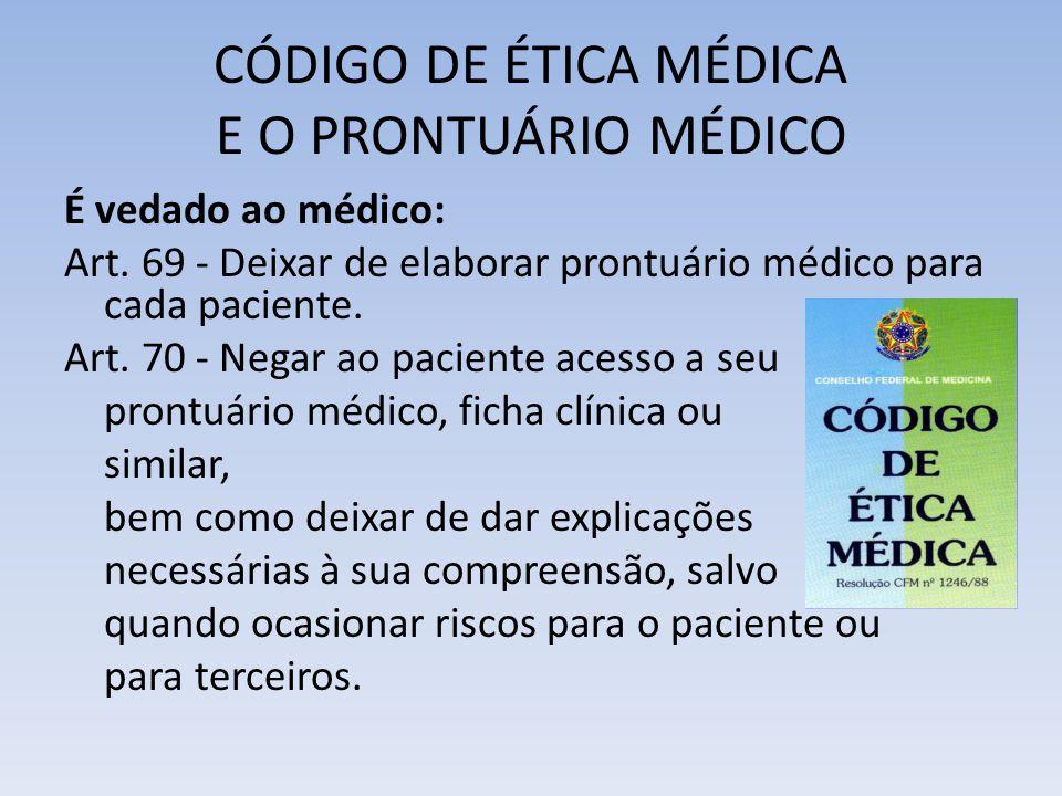 CÓDIGO DE ÉTICA MÉDICA E O PRONTUÁRIO MÉDICO