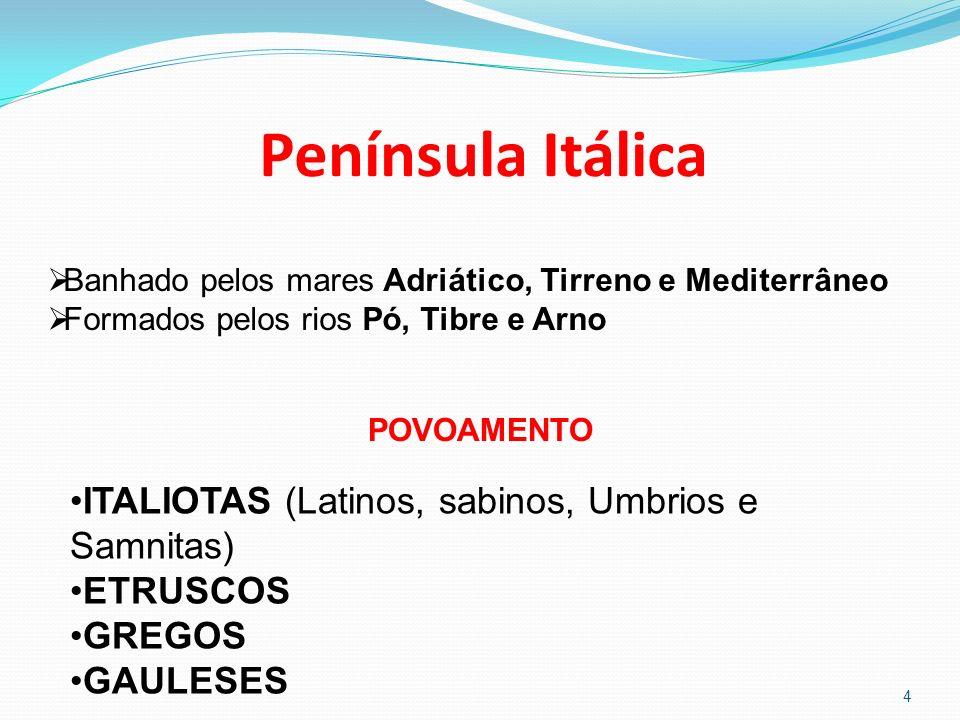 Península Itálica ITALIOTAS (Latinos, sabinos, Umbrios e Samnitas)