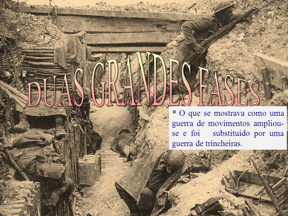 DUAS GRANDES FASESO que se mostrava como uma guerra de movimentos ampliou-se e foi substituído por uma guerra de trincheiras.