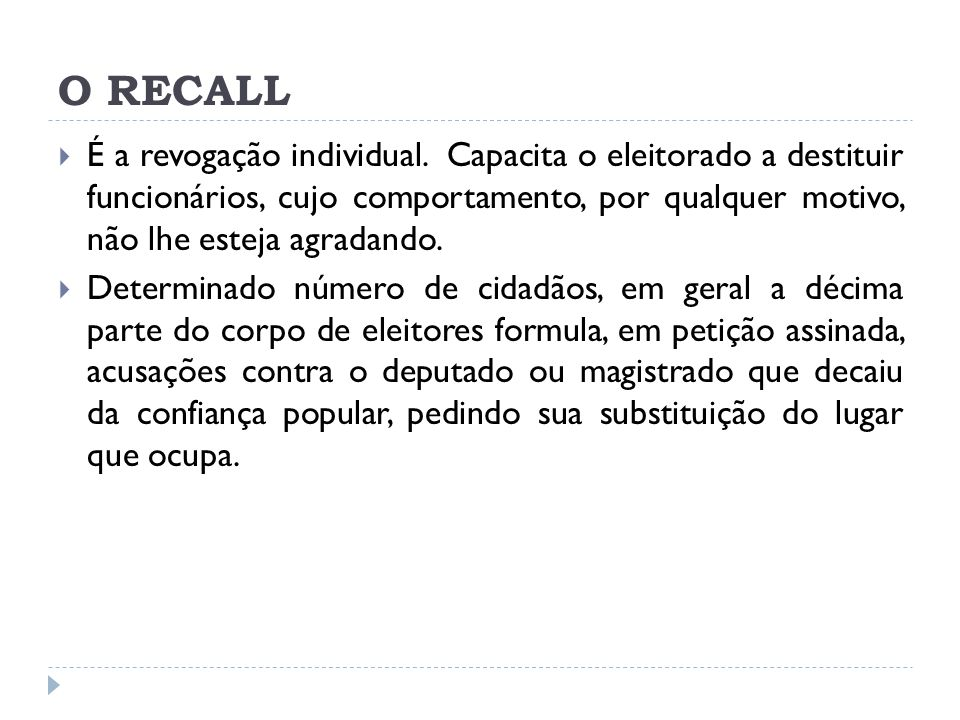 O RECALL