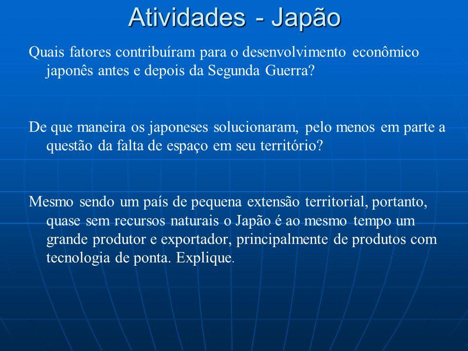 Atividades - Japão Quais fatores contribuíram para o desenvolvimento econômico japonês antes e depois da Segunda Guerra