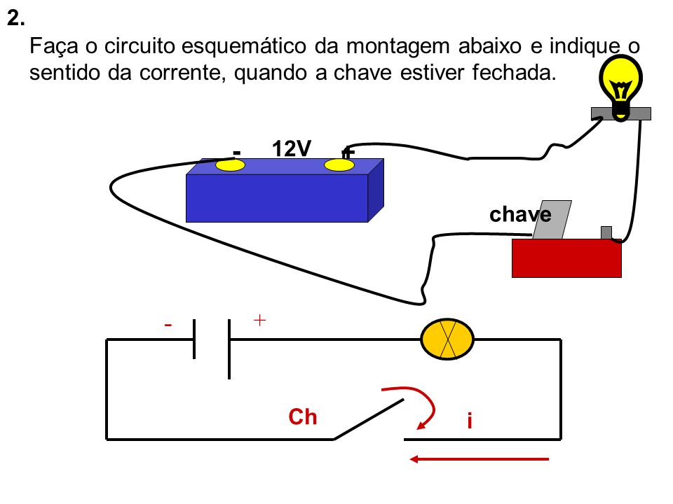 2. Faça o circuito esquemático da montagem abaixo e indique o sentido da corrente, quando a chave estiver fechada.