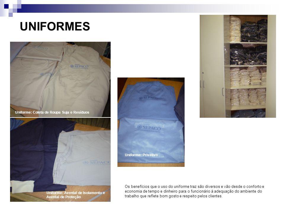 UNIFORMES Uniforme: Coleta de Roupa Suja e Resíduos. Uniforme: Privativo.