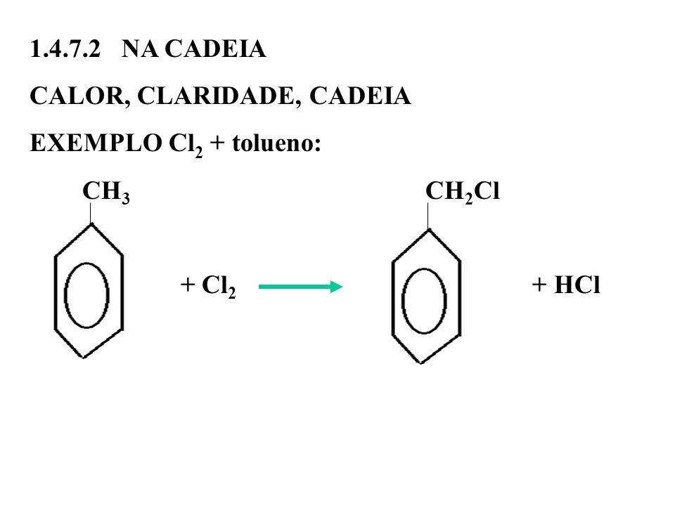1.4.7.2 NA CADEIACALOR, CLARIDADE, CADEIA. EXEMPLO Cl2 + tolueno: CH3 CH2Cl.