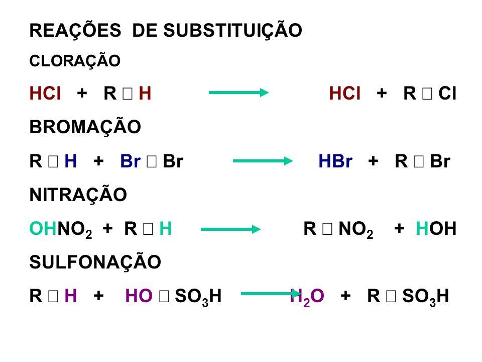 REAÇÕES DE SUBSTITUIÇÃO HCl + R ¾ H HCl + R ¾ Cl BROMAÇÃO