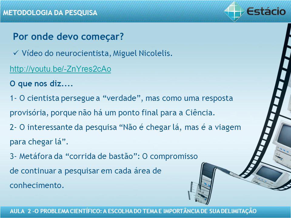 Por onde devo começar Vídeo do neurocientista, Miguel Nicolelis.