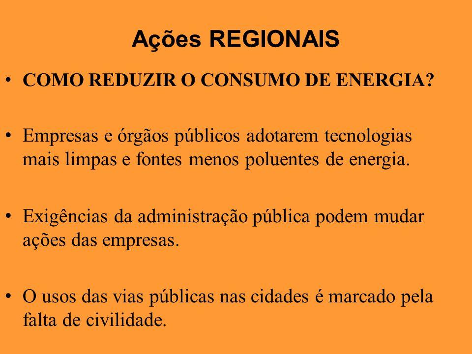 Ações REGIONAIS COMO REDUZIR O CONSUMO DE ENERGIA Empresas e órgãos públicos adotarem tecnologias mais limpas e fontes menos poluentes de energia.