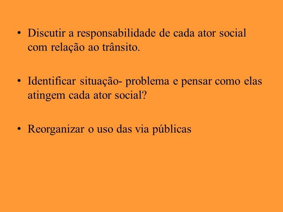 Discutir a responsabilidade de cada ator social com relação ao trânsito.