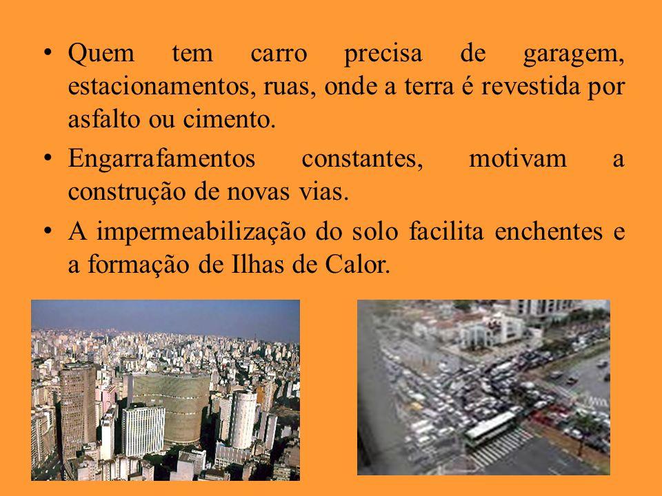 Quem tem carro precisa de garagem, estacionamentos, ruas, onde a terra é revestida por asfalto ou cimento.