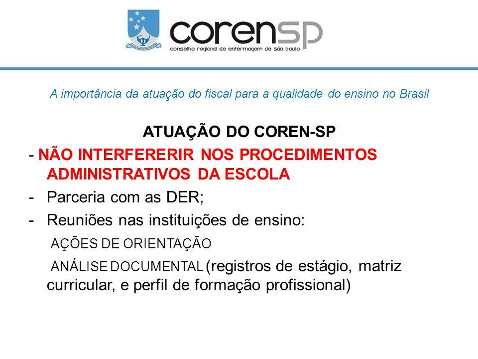 - NÃO INTERFERERIR NOS PROCEDIMENTOS ADMINISTRATIVOS DA ESCOLA