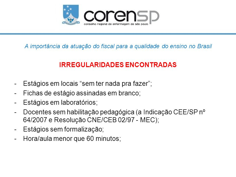 IRREGULARIDADES ENCONTRADAS