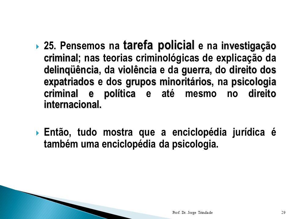 25. Pensemos na tarefa policial e na investigação criminal; nas teorias criminológicas de explicação da delinqüência, da violência e da guerra, do direito dos expatriados e dos grupos minoritários, na psicologia criminal e política e até mesmo no direito internacional.