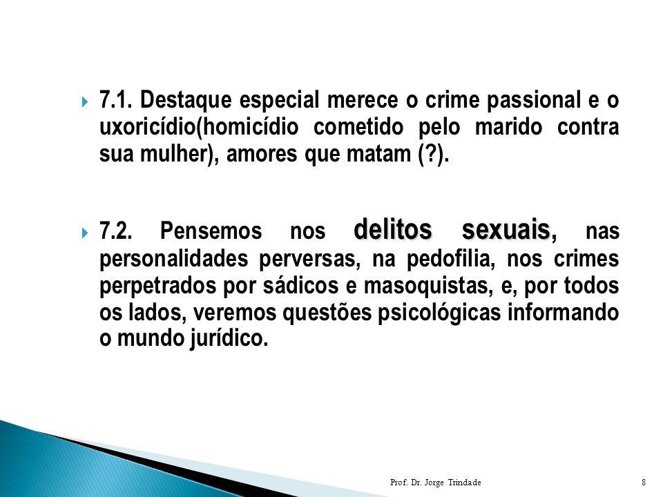 7.1. Destaque especial merece o crime passional e o uxoricídio(homicídio cometido pelo marido contra sua mulher), amores que matam ( ).