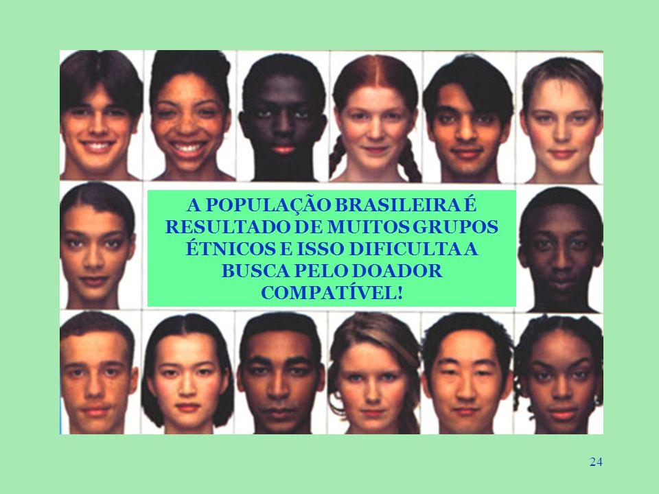 A POPULAÇÃO BRASILEIRA É RESULTADO DE MUITOS GRUPOS ÉTNICOS E ISSO DIFICULTA A BUSCA PELO DOADOR COMPATÍVEL!