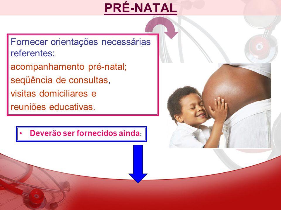 PRÉ-NATAL Fornecer orientações necessárias referentes: