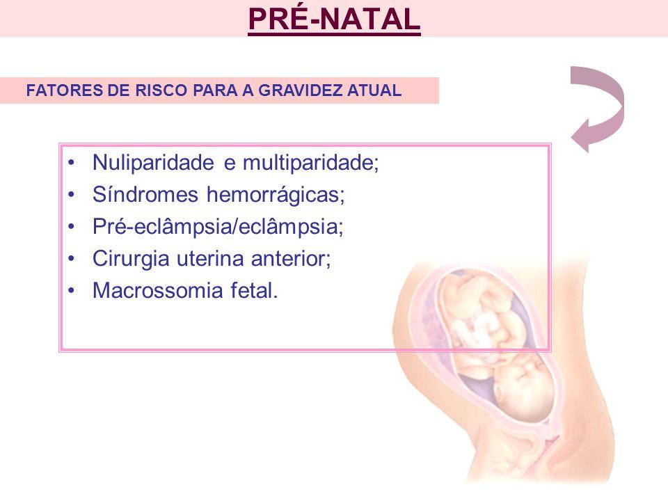PRÉ-NATAL Nuliparidade e multiparidade; Síndromes hemorrágicas;