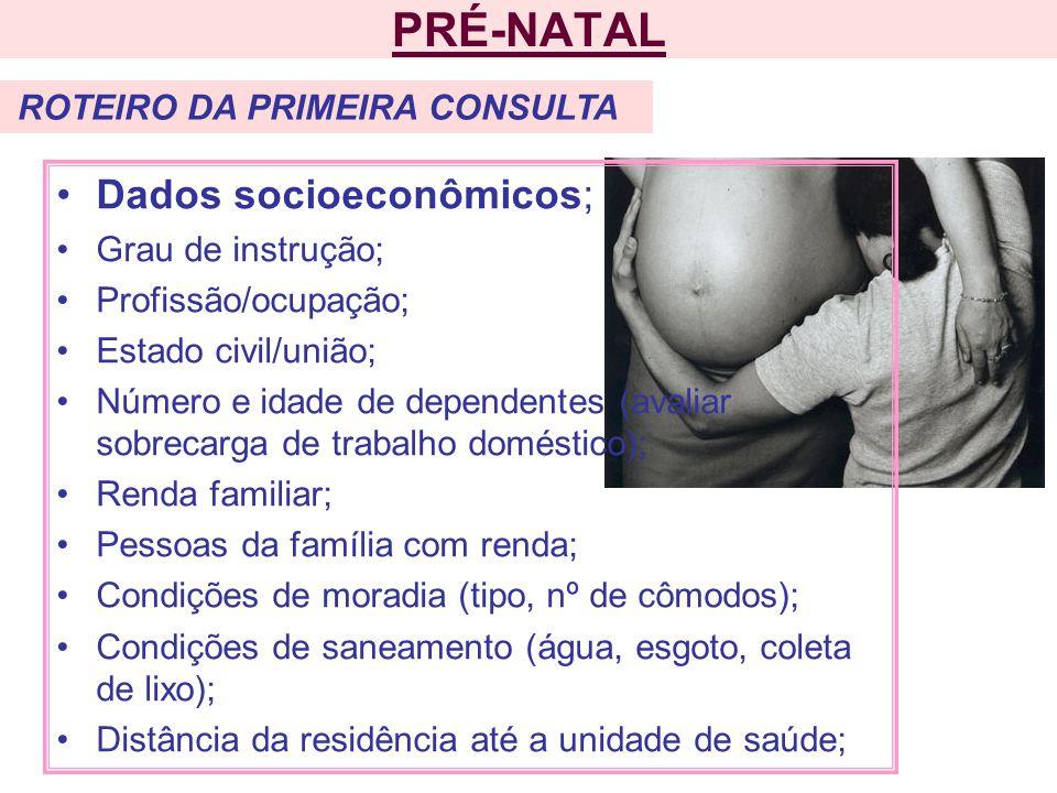PRÉ-NATAL Dados socioeconômicos; Grau de instrução;