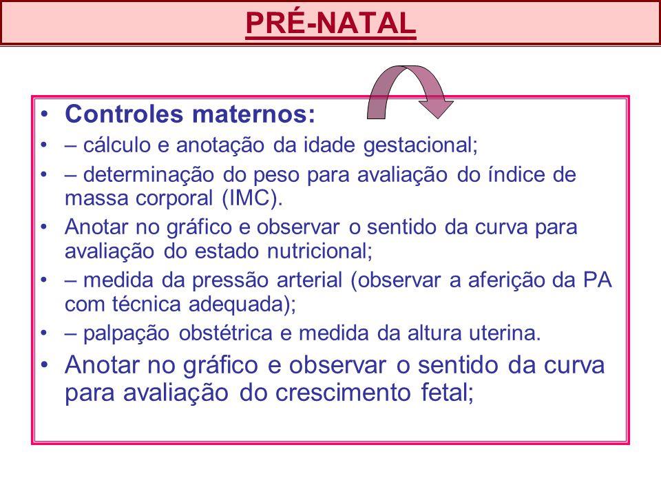 PRÉ-NATAL Controles maternos: