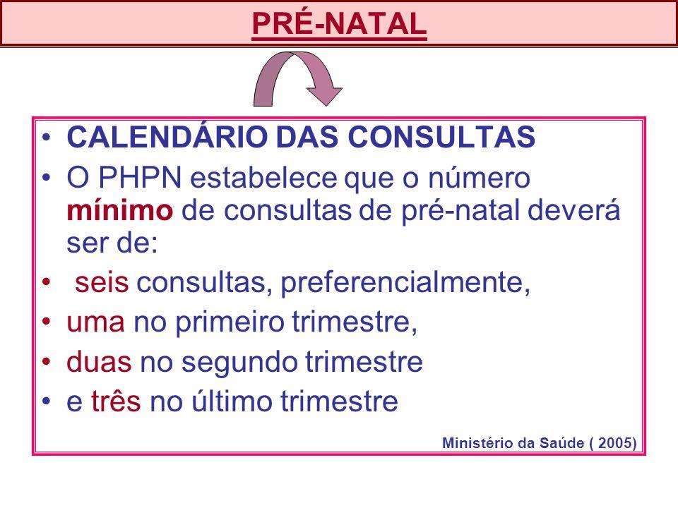 CALENDÁRIO DAS CONSULTAS