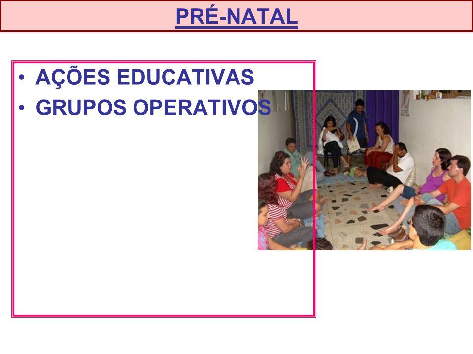 PRÉ-NATAL AÇÕES EDUCATIVAS GRUPOS OPERATIVOS