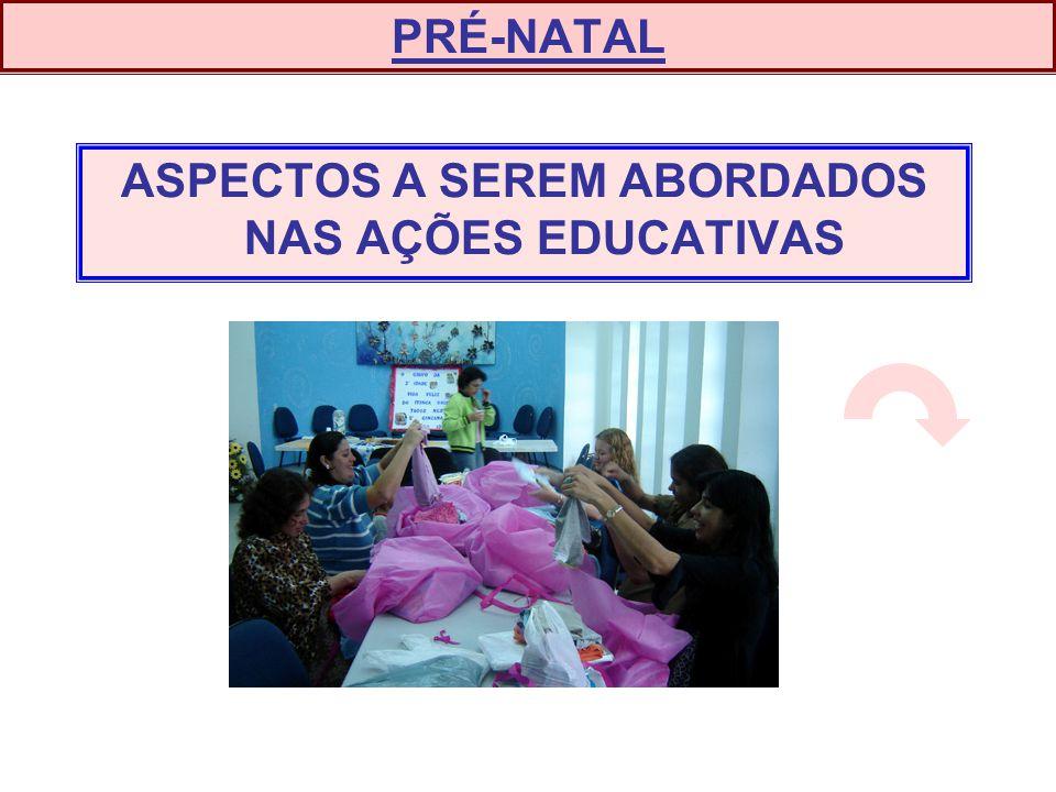 ASPECTOS A SEREM ABORDADOS NAS AÇÕES EDUCATIVAS