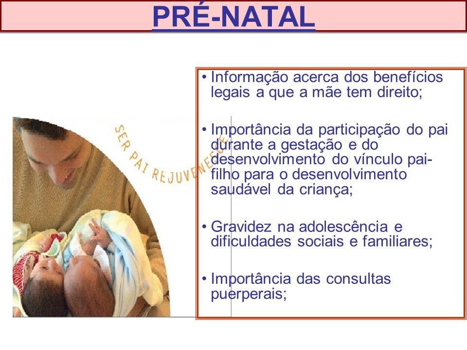 PRÉ-NATAL Informação acerca dos benefícios legais a que a mãe tem direito;