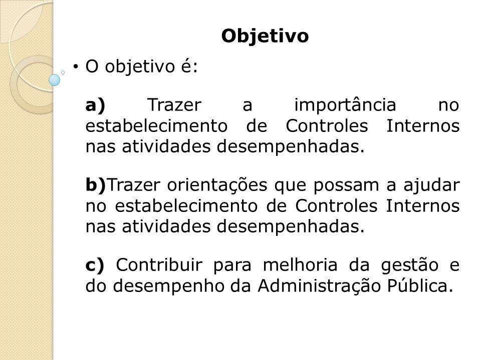 Objetivo O objetivo é: a) Trazer a importância no estabelecimento de Controles Internos nas atividades desempenhadas.