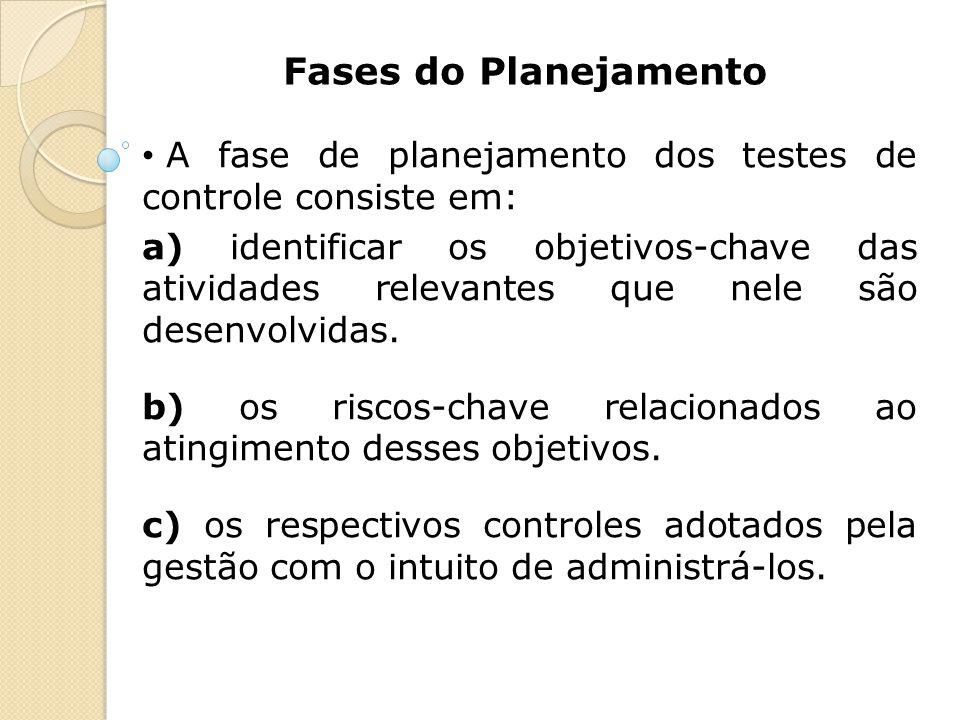 Fases do Planejamento A fase de planejamento dos testes de controle consiste em: