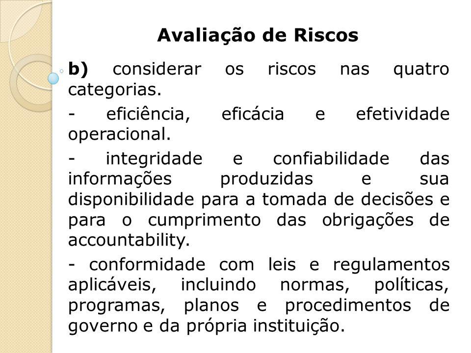 Avaliação de Riscos b) considerar os riscos nas quatro categorias.