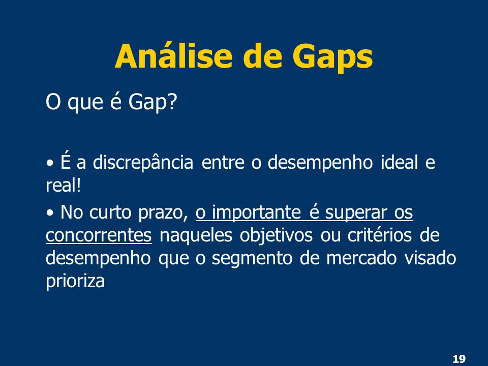 Análise de Gaps O que é Gap