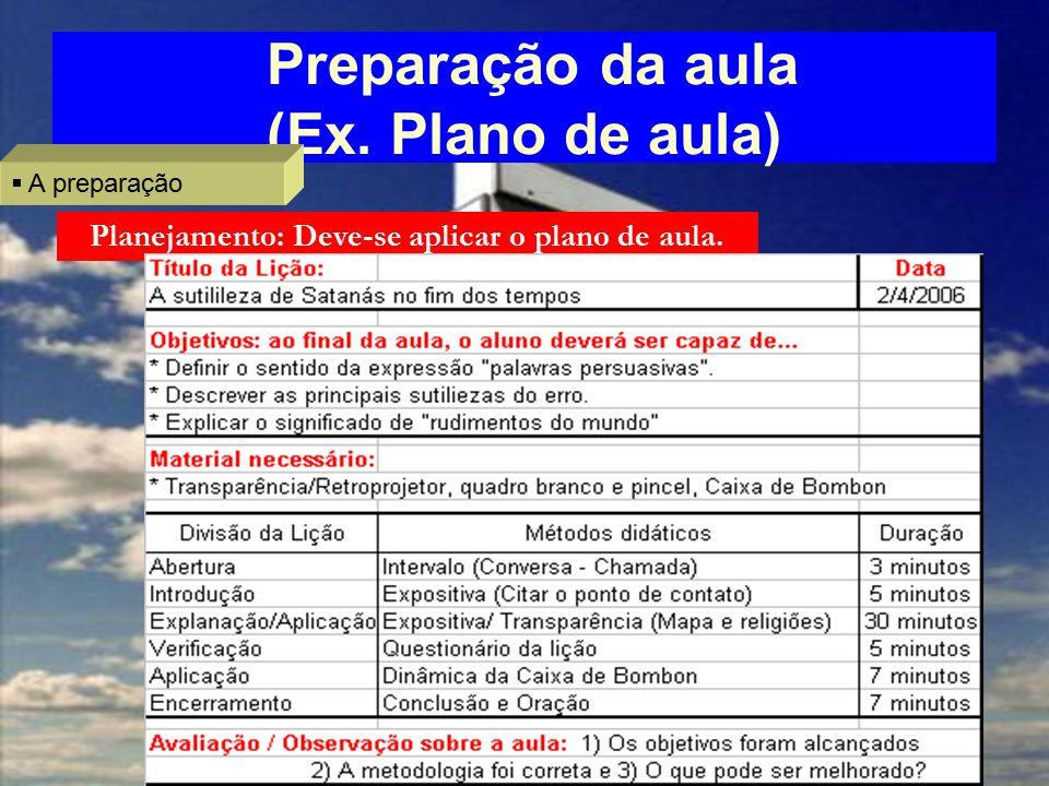 Preparação da aula (Ex. Plano de aula)