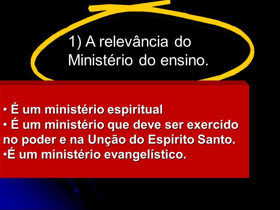 A relevância do Ministério do ensino. É um ministério espiritual