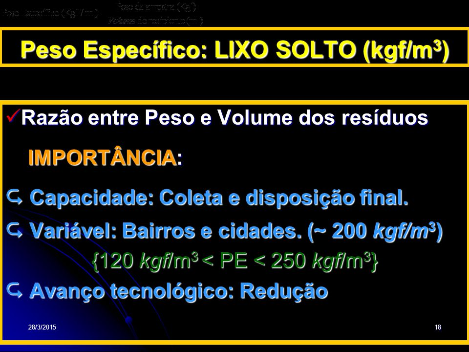 Peso Específico: LIXO SOLTO (kgf/m3)