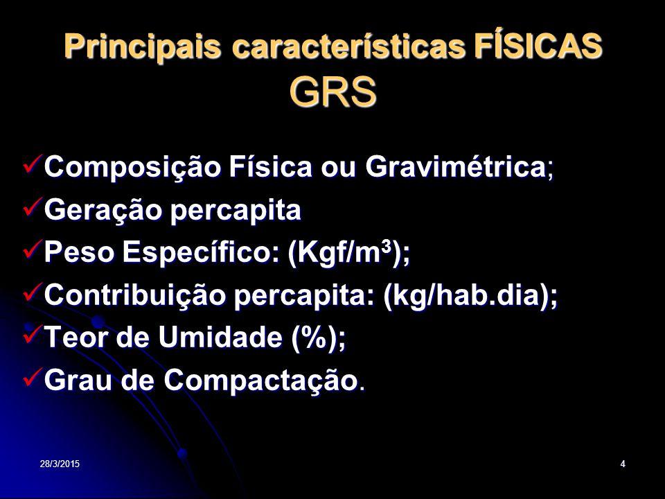 Principais características FÍSICAS GRS