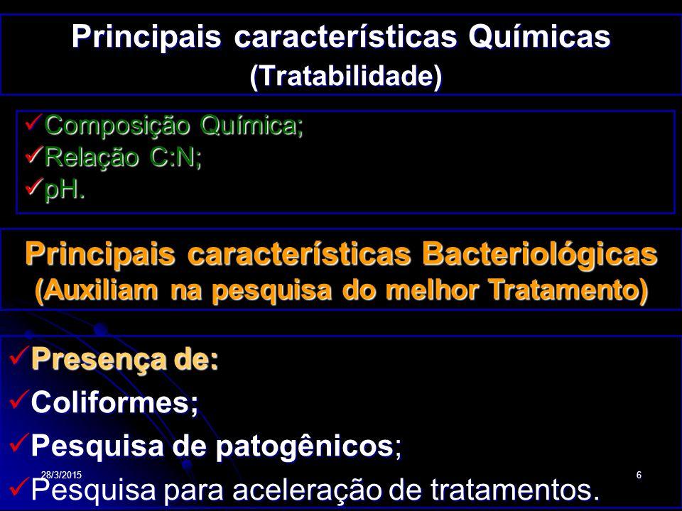 Principais características Químicas (Tratabilidade)