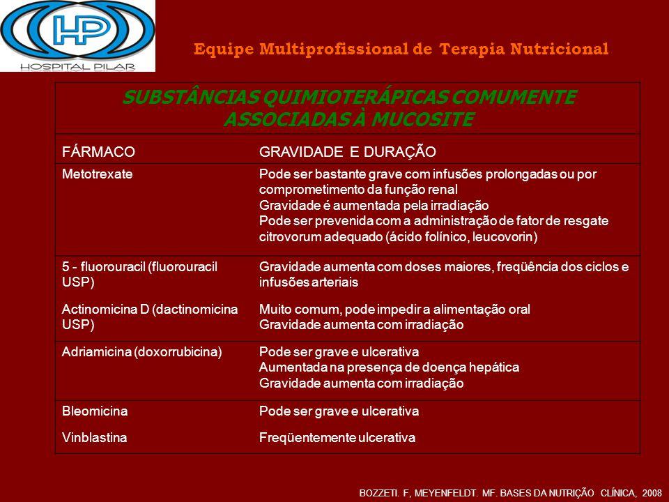 SUBSTÂNCIAS QUIMIOTERÁPICAS COMUMENTE ASSOCIADAS À MUCOSITE